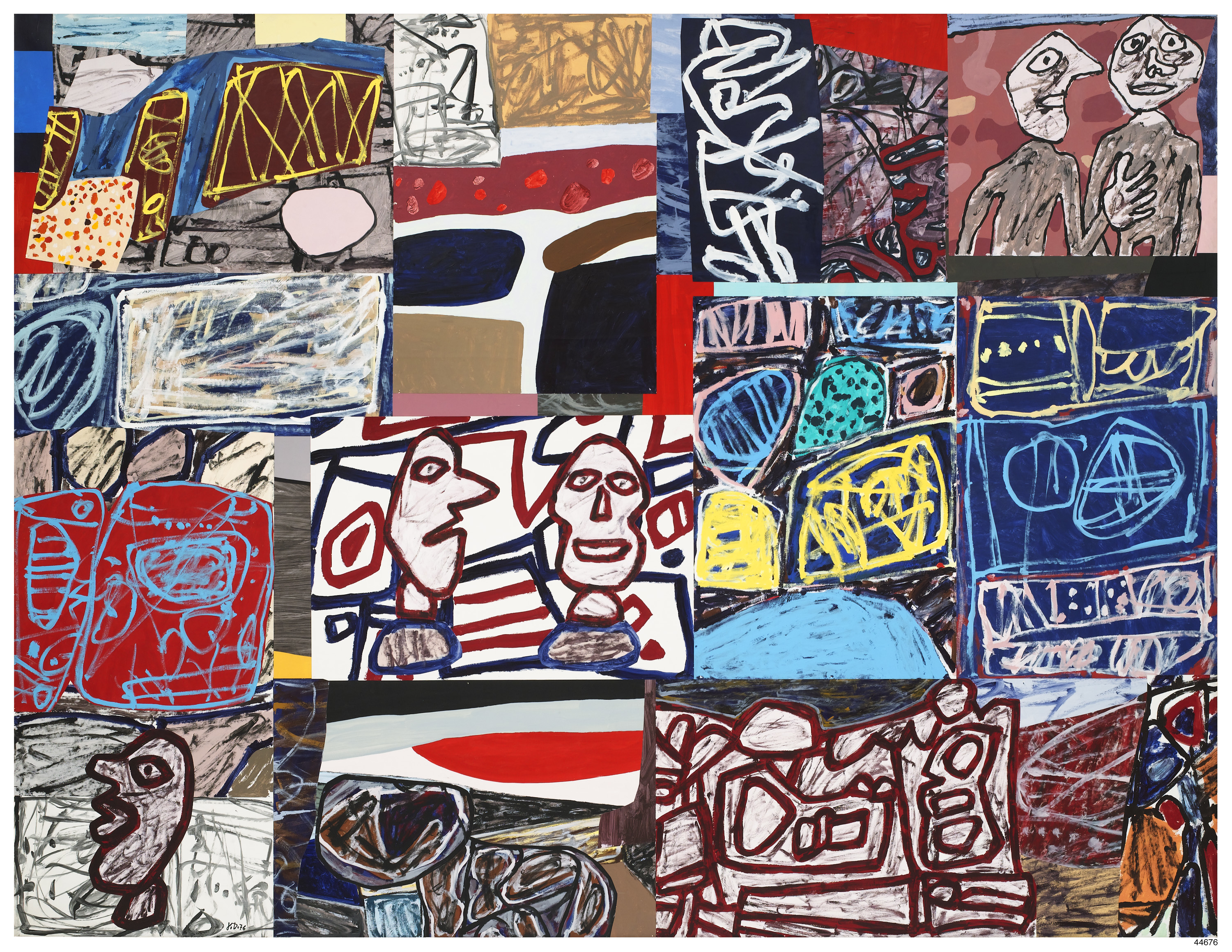 Jean Dubuffet, 'Fête villageoise,' 1976, acrylic and collage on paper mounted on canvas