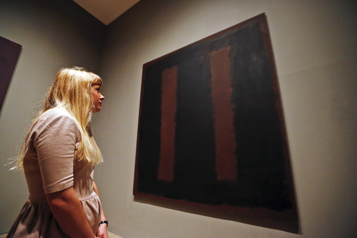 One of Mark Rothko's Seagram Murals, 1958's 'Black on Maroon', on view at Tate Modern in London.