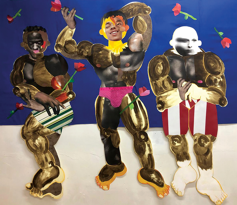A collage depicting three heavily muscled boxers, using brightly patterned bits of paper and photographs