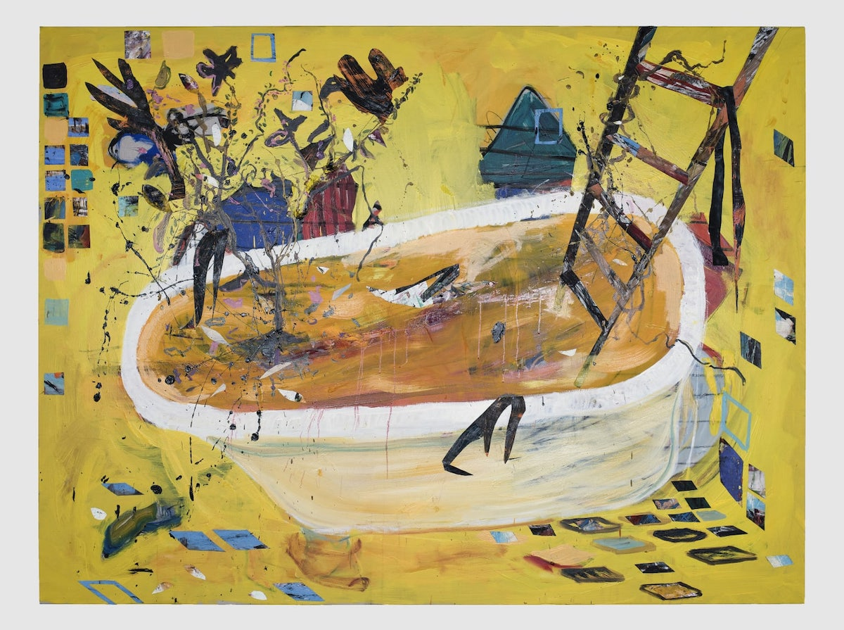 Angel Otero, 'Painter's Bath', 2020. A stepladder appears to come out of a bathtub filled with brown water.