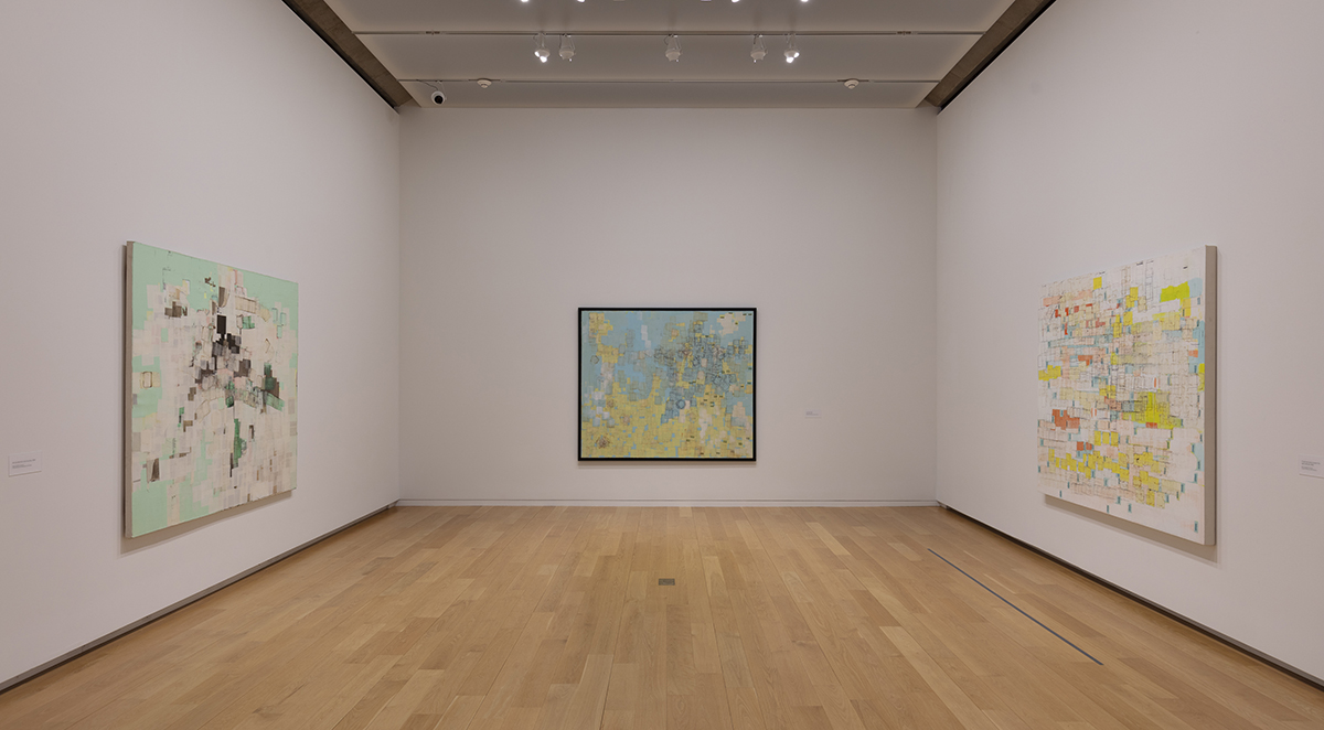 "View of Mark Bradford's exhibition ""End Papers,"" 2020, at the Modern Art Museum of Fort Worth."