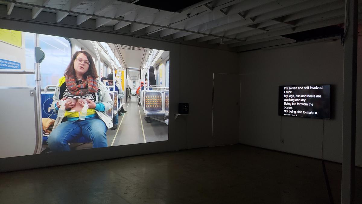 Installation view of 'Patty Chang: Milk Debt,' 2020, at 18th Street Arts Center.