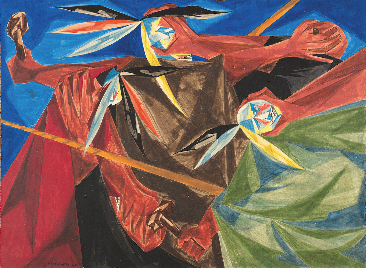 "Jacob Lawrence, 'Rally Mohawks! Bring out your axes, and tell King George we'll pay no taxes on his foreign tea . . . —a song of 1773,' Panel 3, 1954, from ""Struggle: From the History of the American People,"" 1954–56, egg tempera on hardboard"