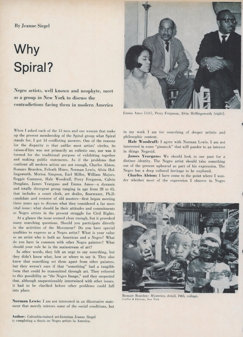Curator Lauren Haynes Revisits a 1966 Profile of Spiral, Pioneering Black Art Collective