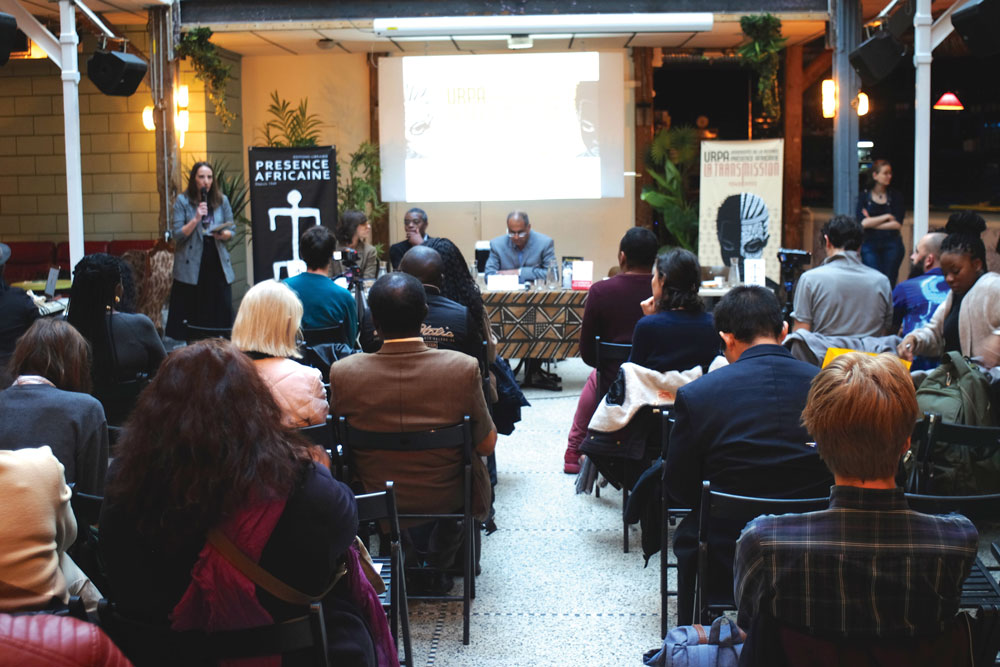 Above, a literary event organized by the publishing house Présence Africaine at La Colonie, Paris, October 2019.