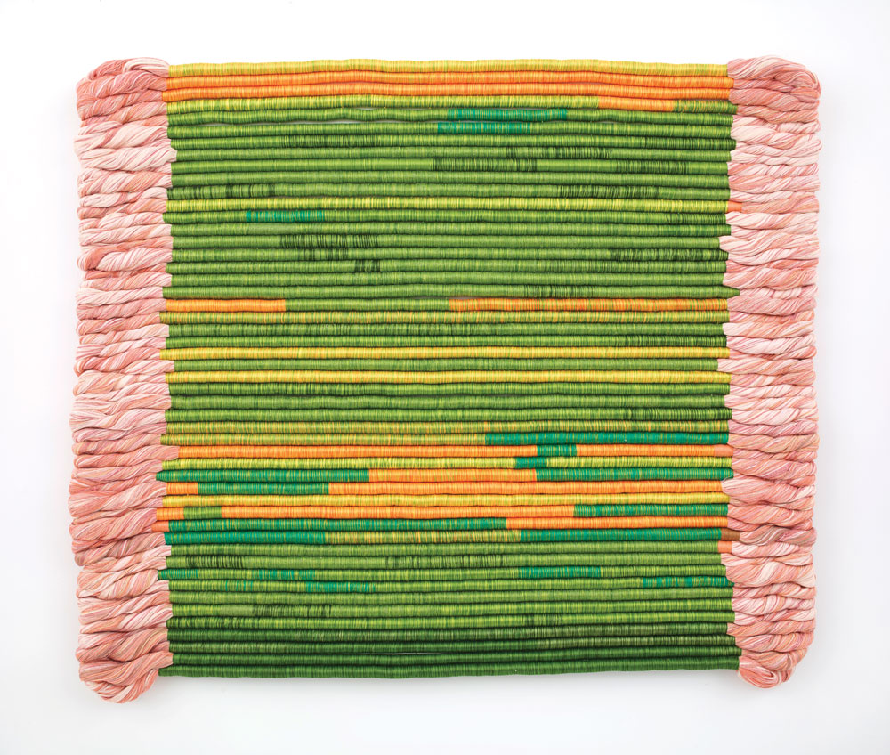 Shelia Hicks, Linen Contained, 2003. A fabric artwork that is mostly green in the middle with pink on each side and orange throughout.