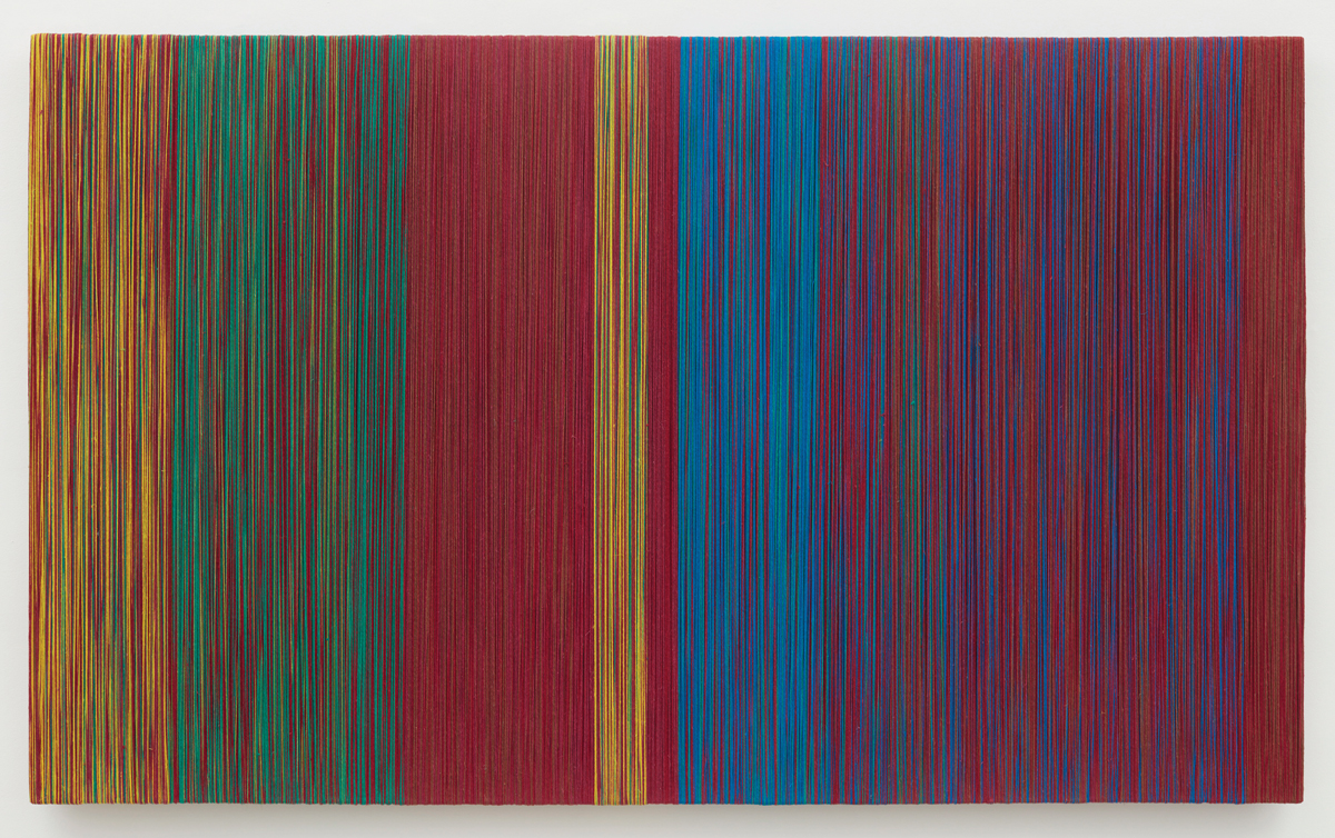Shelia Hicks, Jardinet, 2018. The rectangle work is made of linen and includes vertical bands of color in yellow, green, red, blue, and purple/red.