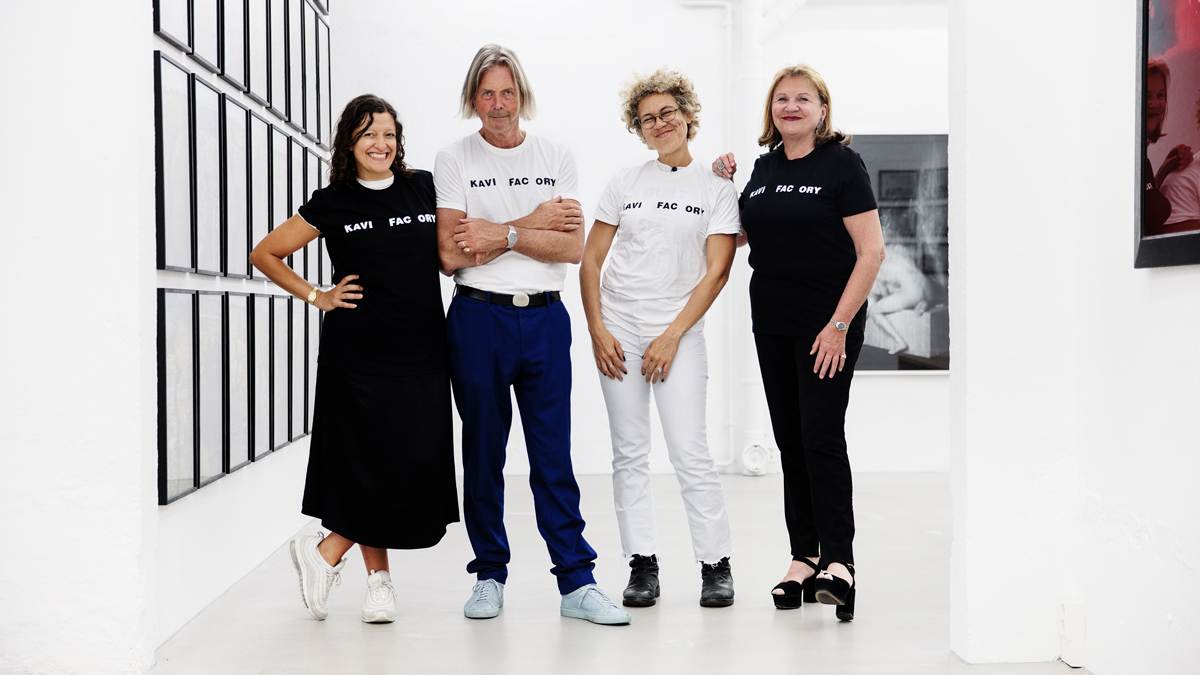 From left, curator Francesca Gavin visits with collector Rolf Hoff, DJ Cassy, and collector Venke Hoff as part of the BMW Art Guide Film Series.""