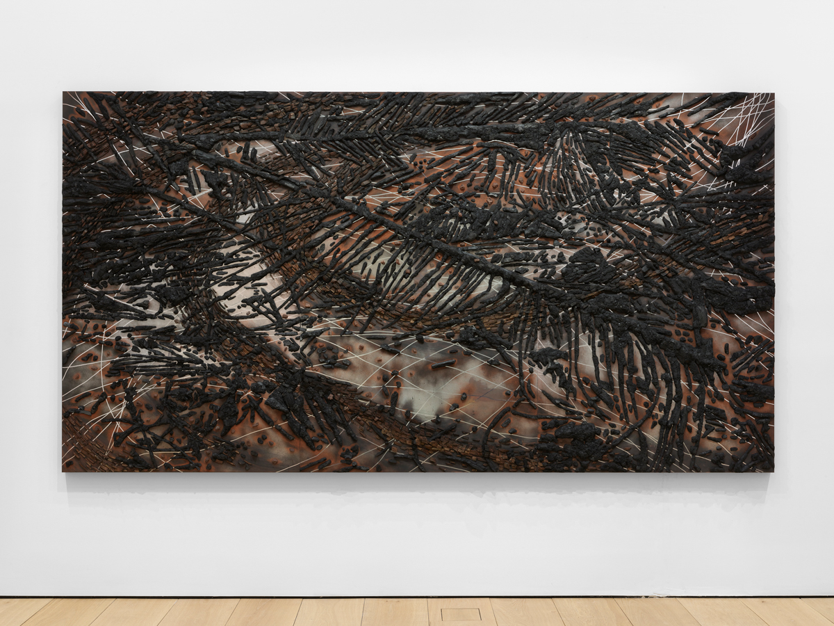 Teresita Fernández, Black Beach(Unpolished Diamond) 2, 2020, solid charcoal, wood, volcanic rock, and mixed media on aluminum panel