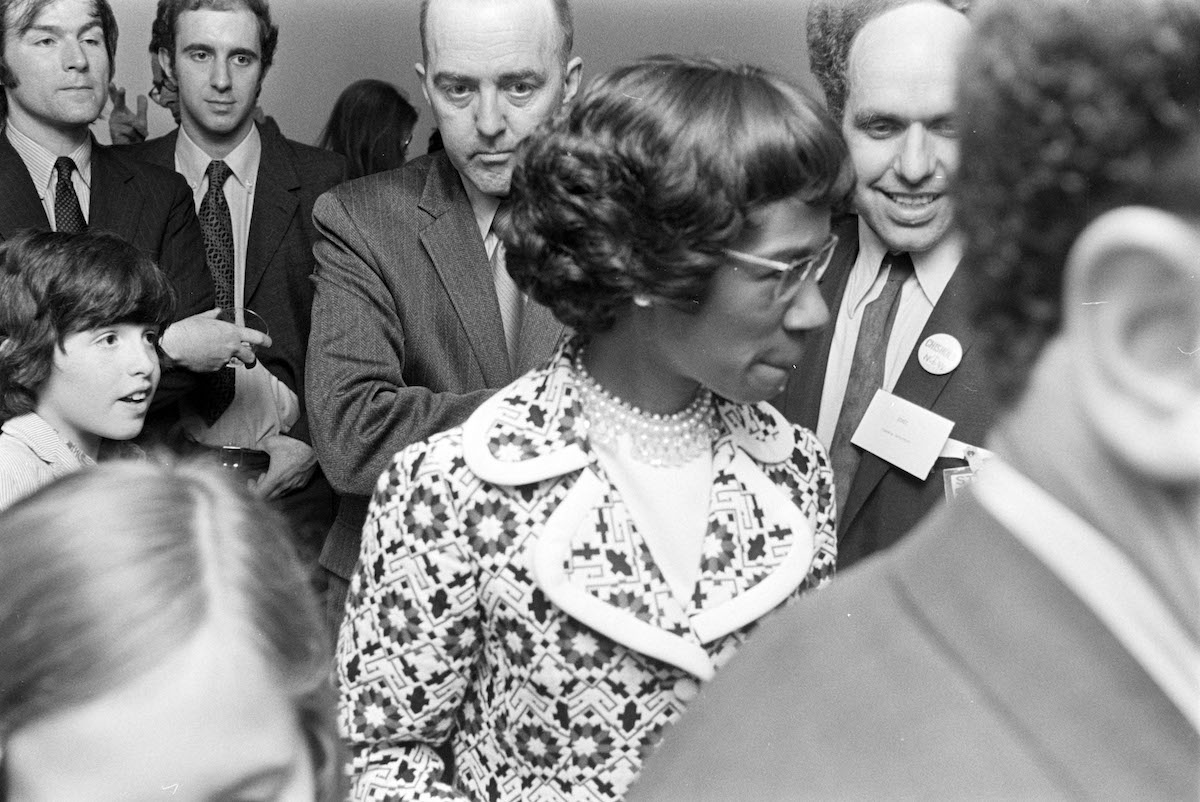 A 1972 party at Richard L. Feigen & Co.'s New York Gallery held in honor of Shirley Chisolm's Presidential run.