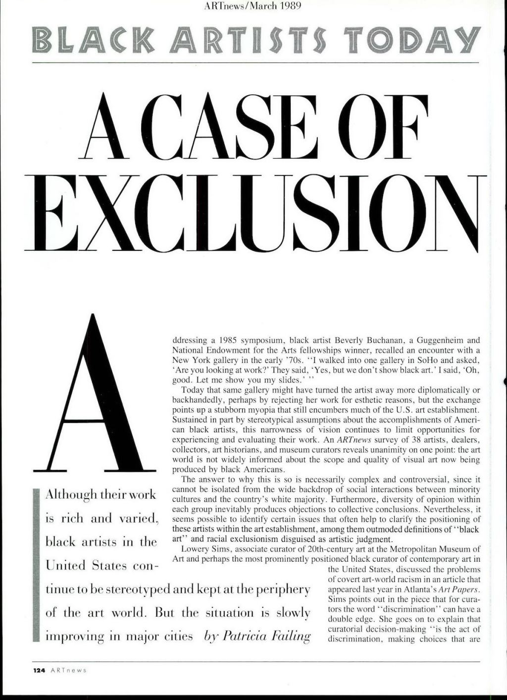 www.artnews.com: How Top U.S. Art Museums Excluded Black Artists During the 1980s: From the Archives