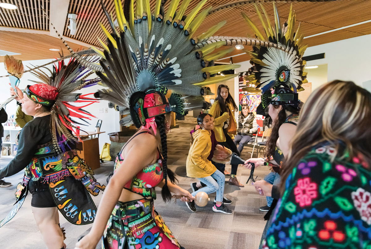 Museum guests learned the steps to an Aztec dance with Huehca Omeyocan dancers at a free family event at Five Oaks Museum in 2019.