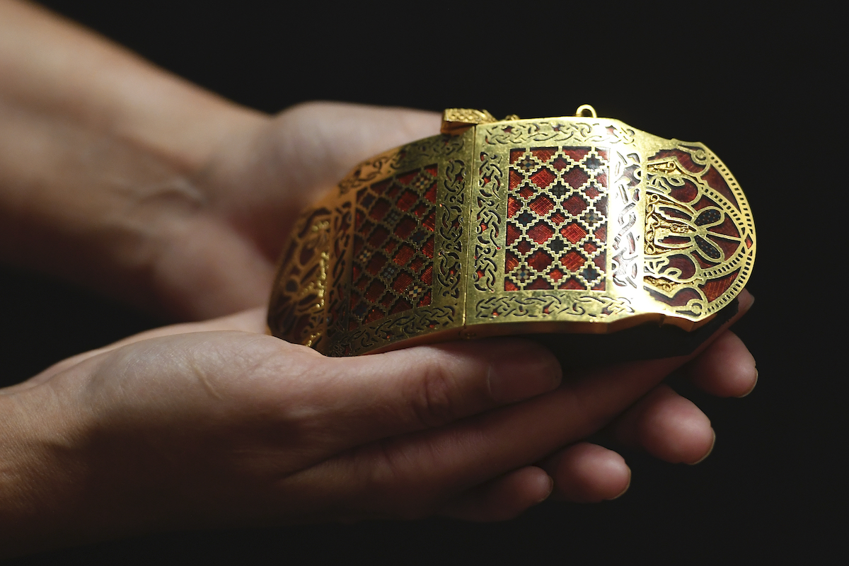 A replica of a shoulder clasp found at Sutton Hoo.