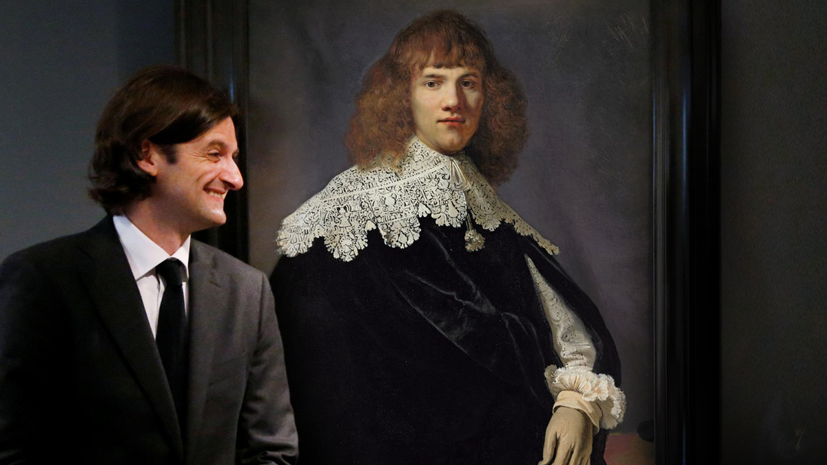 A still from My Rembrandt, showing Jan Six with Portrait of a Young Gentleman.