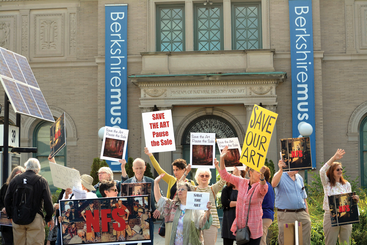 Protesters take issue with the Berkshire Museum's plan to sell 21 of its most valuable artworks, including a Norman Rockwell donated by the artist himself.