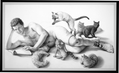 A portrait of Brian Zimmerman in charcoal on paper. Brian is a white man with short light-brown curly hair. He lays on his side in the nude. An open book is on the ground under his hands. Brian's left leg is amputated below the knee and wears a prosthetic leg. Six various cats of different breeds surround him – one cuddles up into his hairy chest while another pounces toward him from behind. The other cats either watch on or mind their own business.