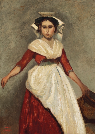 Italienne debout tenant une cruche by Jean-Baptiste-Camille Corot