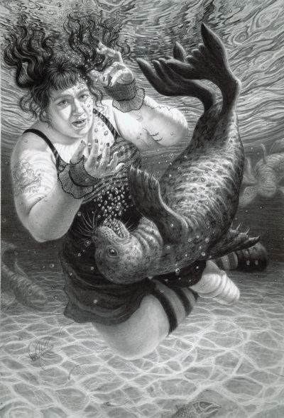 A charcoal drawing of Nomy Lamm. Nomy, a white woman with dark long wavy hair appears to have plunged into the ocean. She floats underwater with her eyes and mouth open, while wearing a skirted swimsuit, fingerless gloves, and long striped socks. Her left leg is amputated below the knee and wears an outer prosthetic leg sleeve. Her upper arm has a large tattoo of a seal balancing its heart on its nose. A sea lion swims in front of her on its back. Bubbles blow out of both of their mouths, as if they are singing together. Surrounding Nomy and the sea lion are large fish. Rippled patterns of light dance along the ocean floor.