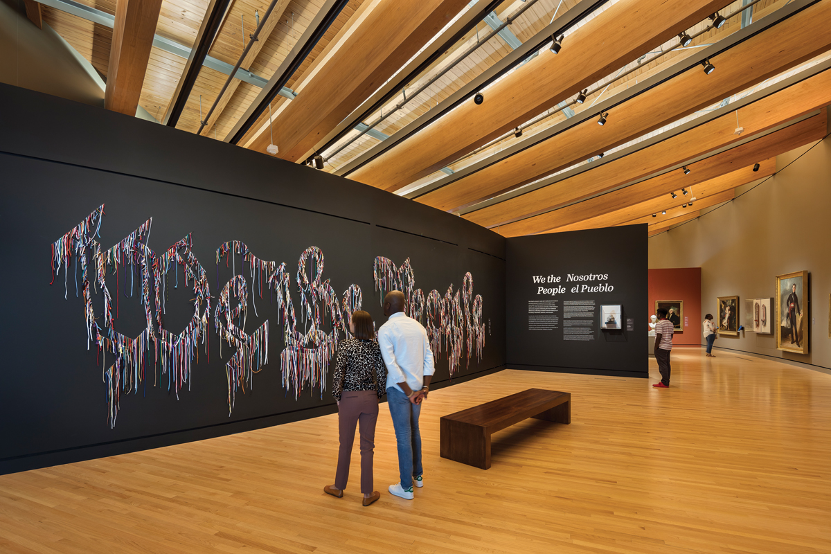 Nari Ward's We the People (black version), 2015, greets visitors at the Crystal Bridges Museum of American Art.