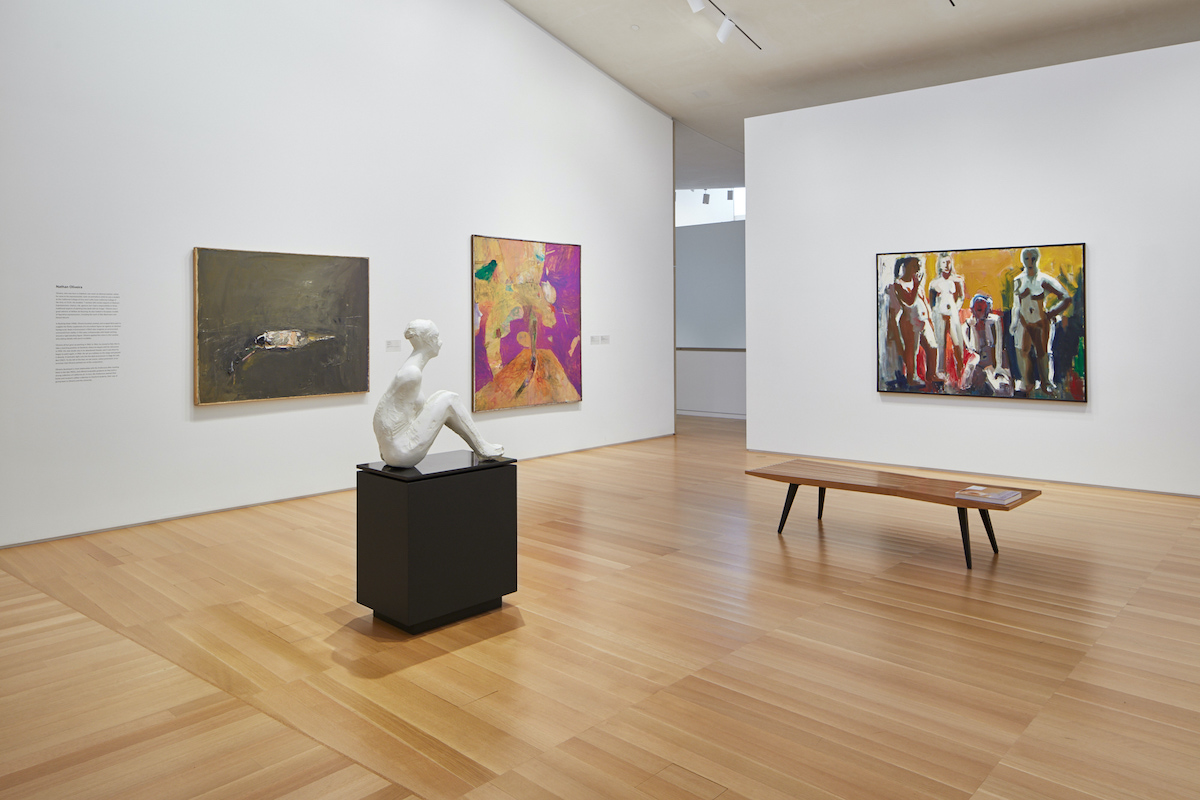 Installation view of the Anderson Collection at Stanford University with works by Nathan Oliveira, Manuel Neri, and David Park pictured.