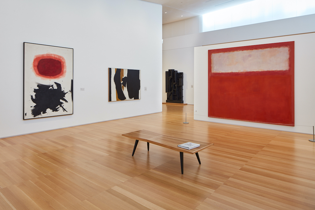 Installation view of the Anderson Collection at Stanford University with works by Adolph Gottlieb, Robert Motherwell, Louise Nevelson, and Mark Rothko pictured.