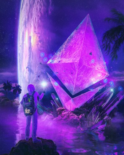 A person in a hoodie comes across a purple prismatic Ethereum logo in a swamp