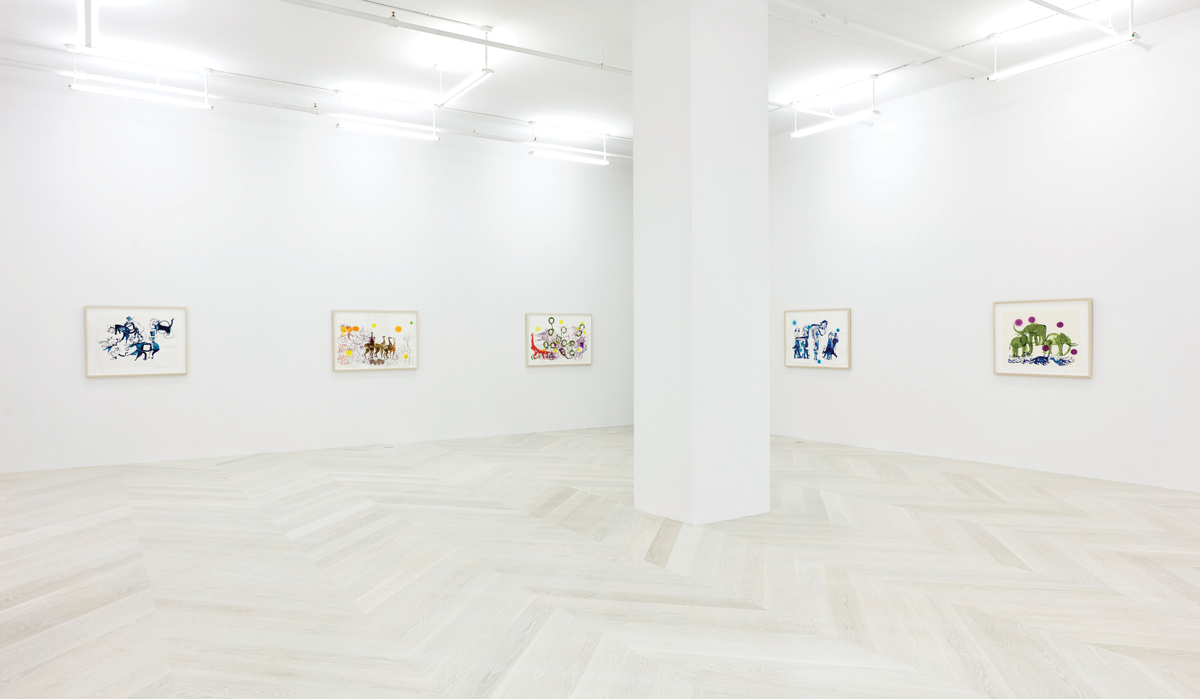Installation view of Brian Jungen: Drawings, 2021, at Casey Kaplan, New York.