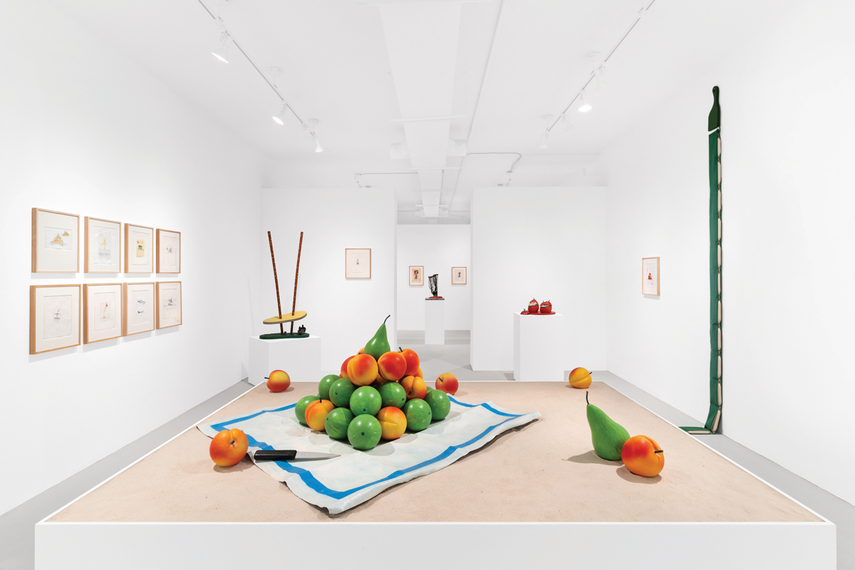 Below, the Palm Beach Outpost at the Paula Cooper Gallery features works by Claus Oldenberg and Koz van Brugen.