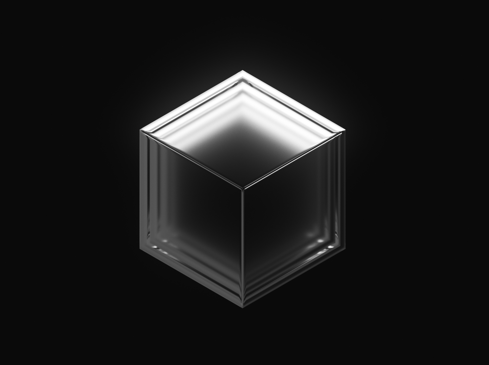 Three nested white cubes float in black space, a hazy murk at their center