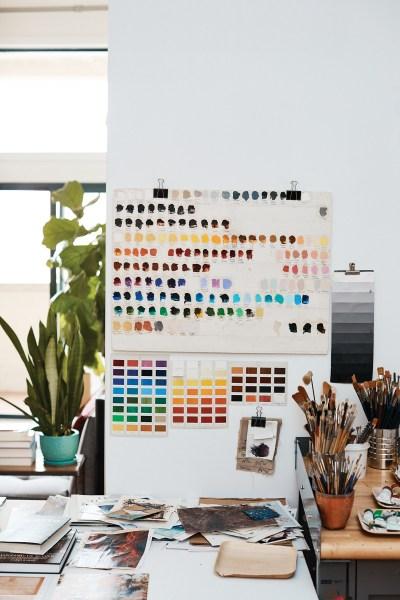 Various paint test swatches in Ali Banisadr's studio.