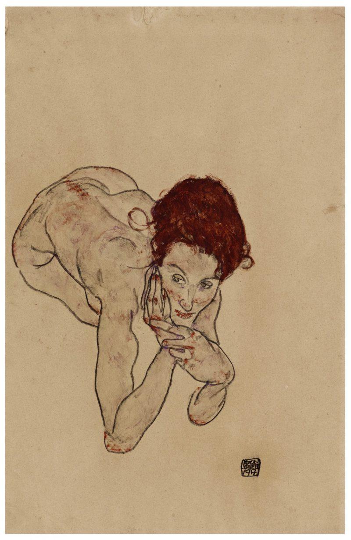 Egon Schiele, Crouching Female Nude