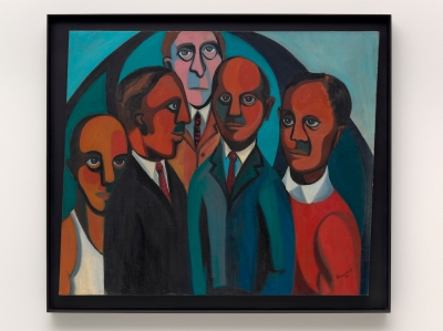 A painting depicts five men standing in a group. The two men in the foreground and the two just behind them have brown skin while the man at the back of the group, whose head rises above the others, has white skin. Their bodies form a rough triangle while circular forms hover behind them.
