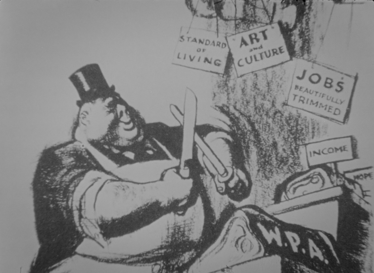 A cartoon featuring a giant butcher sharpening his knives while signs reading 'Art and Culture' hang above him.