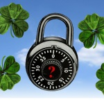 A combination lock floats in a