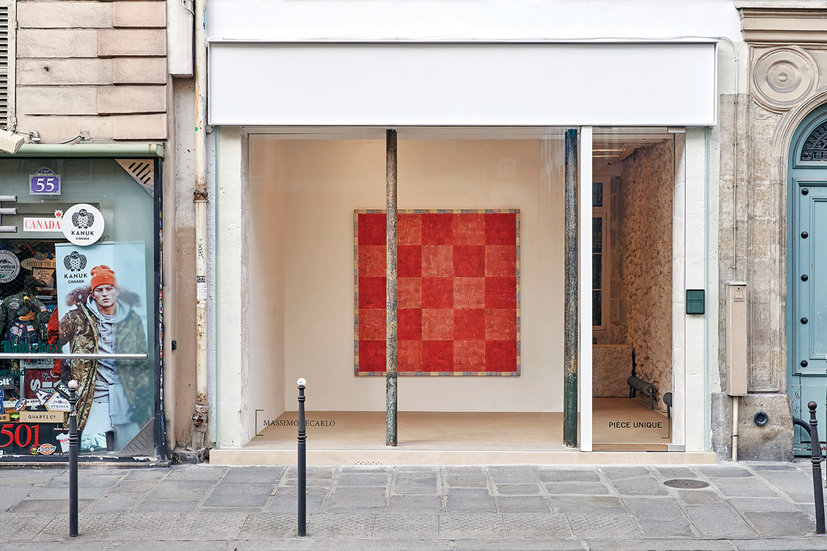 Massimo De Carlo's Paris gallery, Pièce Unique, displays a single artwork; McArthur Binion, DNA:Orange:Work, 2020, which was on view there in March.