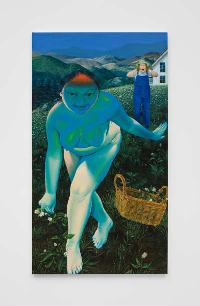 A vertical painting shows two Asian woman. One in the foreground has mostly blue skin and is naked in a field picking flowers. The other, in the background, wears overalls and a bucket hat. She's covering her ears. The scene is ratehr idyllic, with mountains in the background.