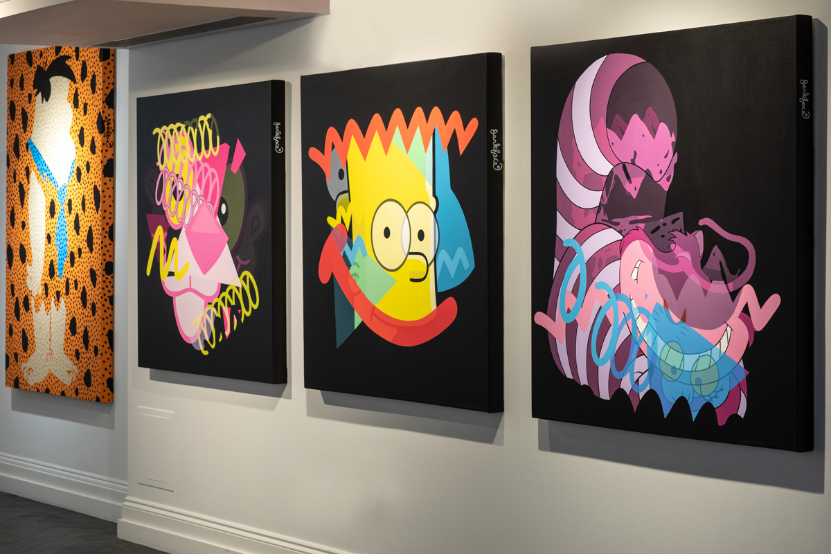 Installation view of four works by Jerkface at Maddox gallery.