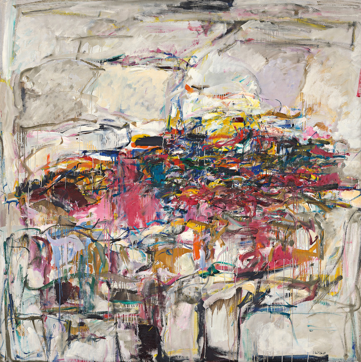 An abstract painting featuring a mass of red, blue, pink, and brown strokes in the center of an off-white background.