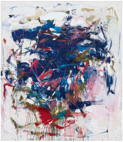 An abstract painting with a mass of blue and red strokes at the center.
