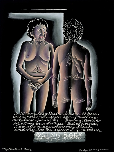 A painting of a nude woman examining her body in a mirror.