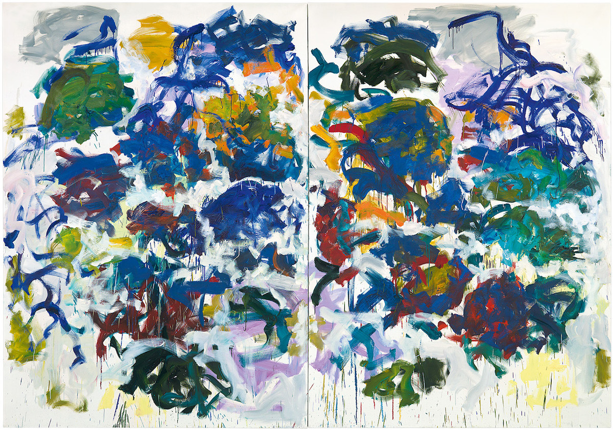 A two-part abstract painting with large splotch-like forms composed of blue, yellow, and green paint.