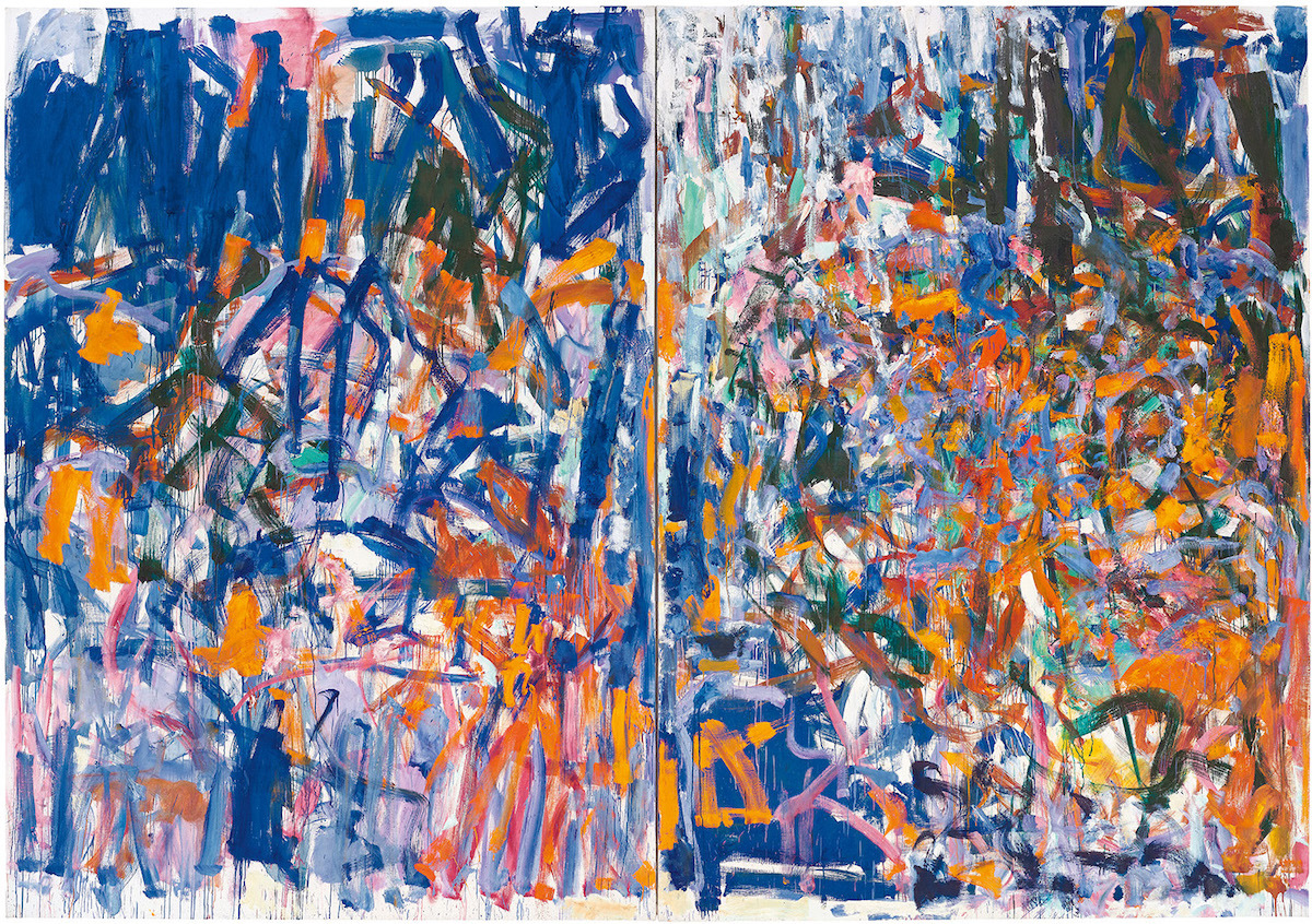 A two-part abstract painting composed of intersecting orange, blue, and white strokes.