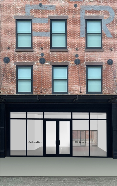 A rendering of a ground floor empty art gallery in a three-story building.