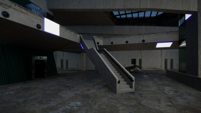 A digital 3D rendering of a large room inside a concrete structure