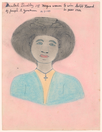 An illustrated portrait with a pink background depicts a woman with an afro and a necklace with a chain.
