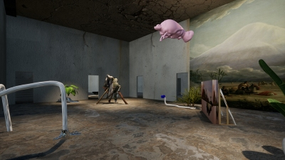 A room of a virtual exhibition containing objects such as a pink manatee, suspended from the ceiling, and mural depicting a desert in the American West
