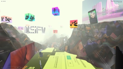 A virtual environment with brownish red mountains and rainbow-colored cubes floating in the air