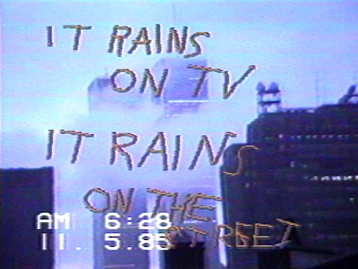 """The text """"it rains on TV"""