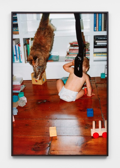 A photograph depicts a baby playing on the floor while a cat leaps from a windowsill.