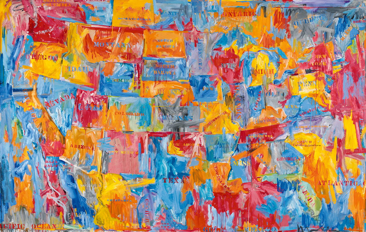 A painting of the map of the United States, Canada, and Mexico. The states are set above an abstraction composed of splotches of red, blue, and yellow, and each state has its name painted on it. In some areas, the borders of states are not clear.